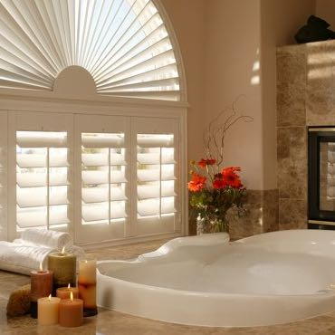 Raleigh bathroom plantation shutters.