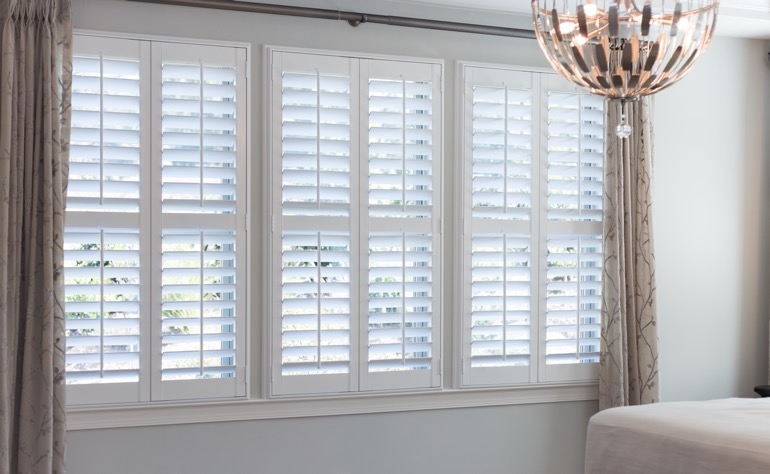 Raleigh plantation shutters guest room