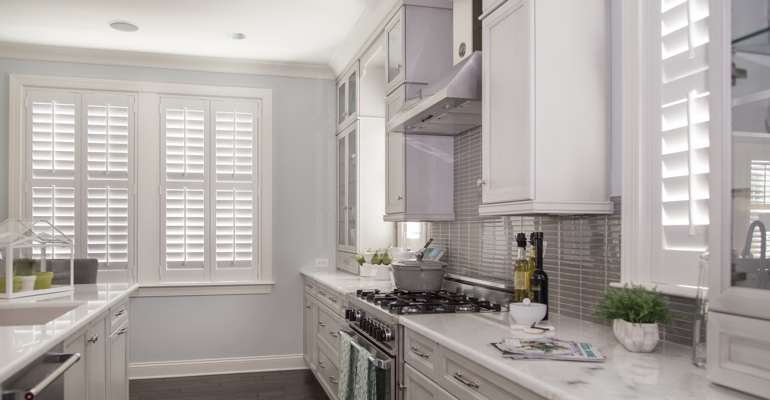 Raleigh kitchen white shutters
