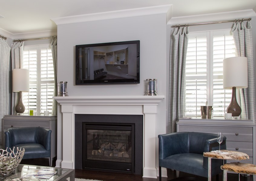 living room Raleigh faux wood shutters