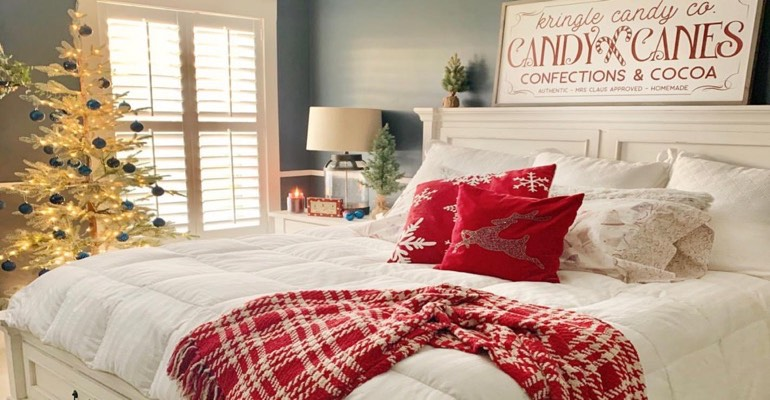 Traditional bedroom with Christmas decor.