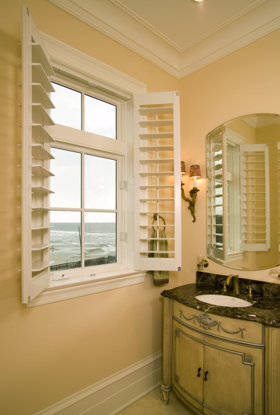Faux Wood shutters in Raleigh beach home