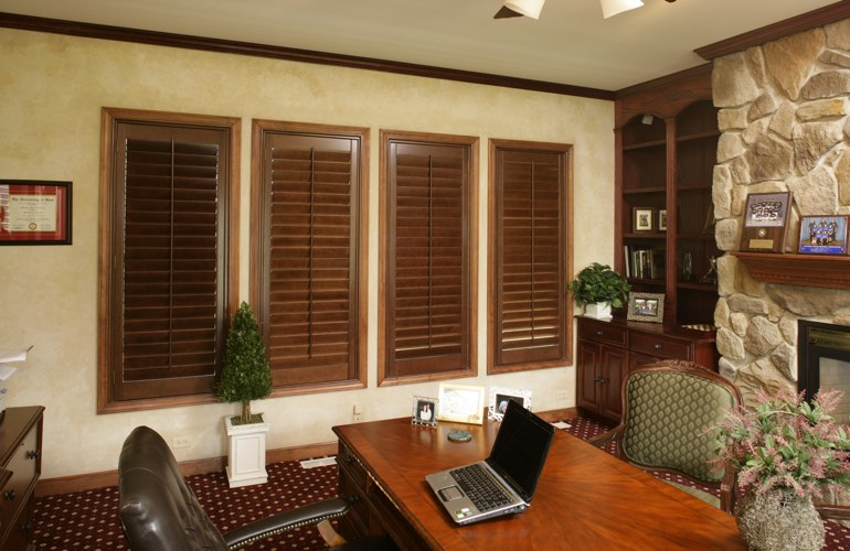 Hardwood plantation shutters in a Raleigh home office