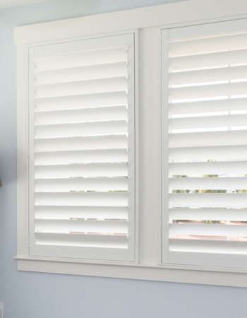 Plantation shutters with hidden tilt rods in Raleigh