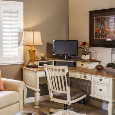 Raleigh home office window shutters.