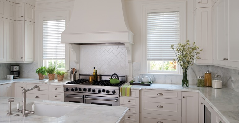 Raleigh kitchen white blinds