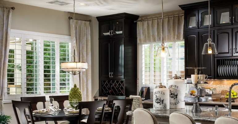 Raleigh kitchen dining room with plantation shutters.