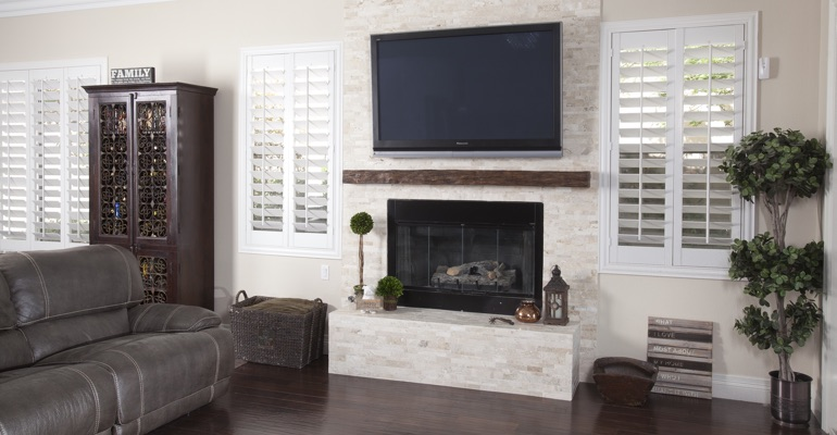 polywood shutters in Raleigh family room