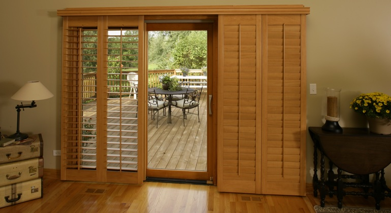 Raleigh wood shutter sliding door