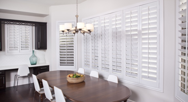plantation shutters in Raleigh dining room