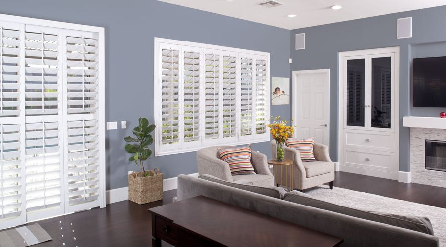 Faux Wood Shutters In modern Raleigh Living Room