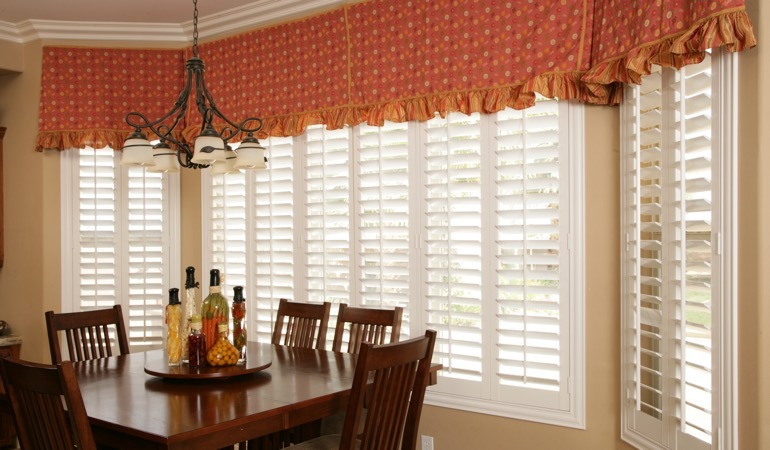 White shutters in Raleigh dining room.