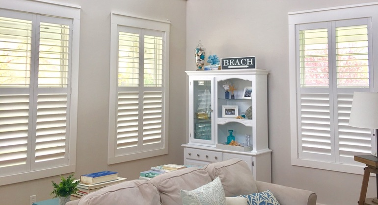 Polywood shutters in Raleigh great room