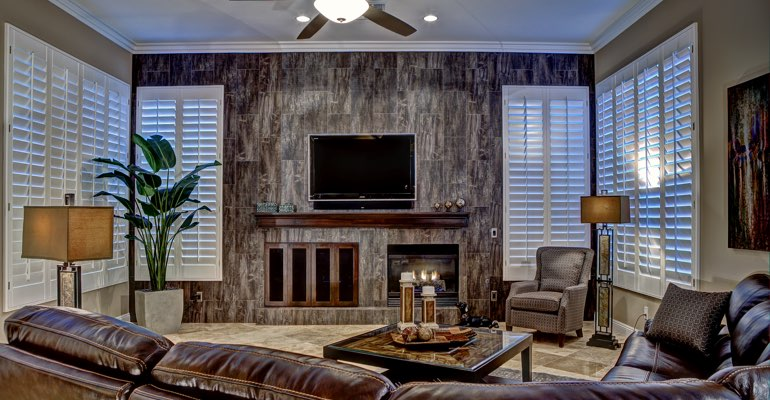 Raleigh living room with shutters