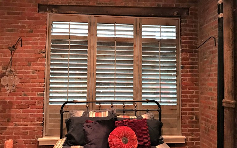 repurposed wood shutters in Raleigh apartment