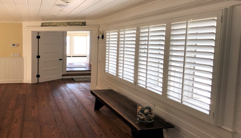 Faux wood plantation shutters in Raleigh
