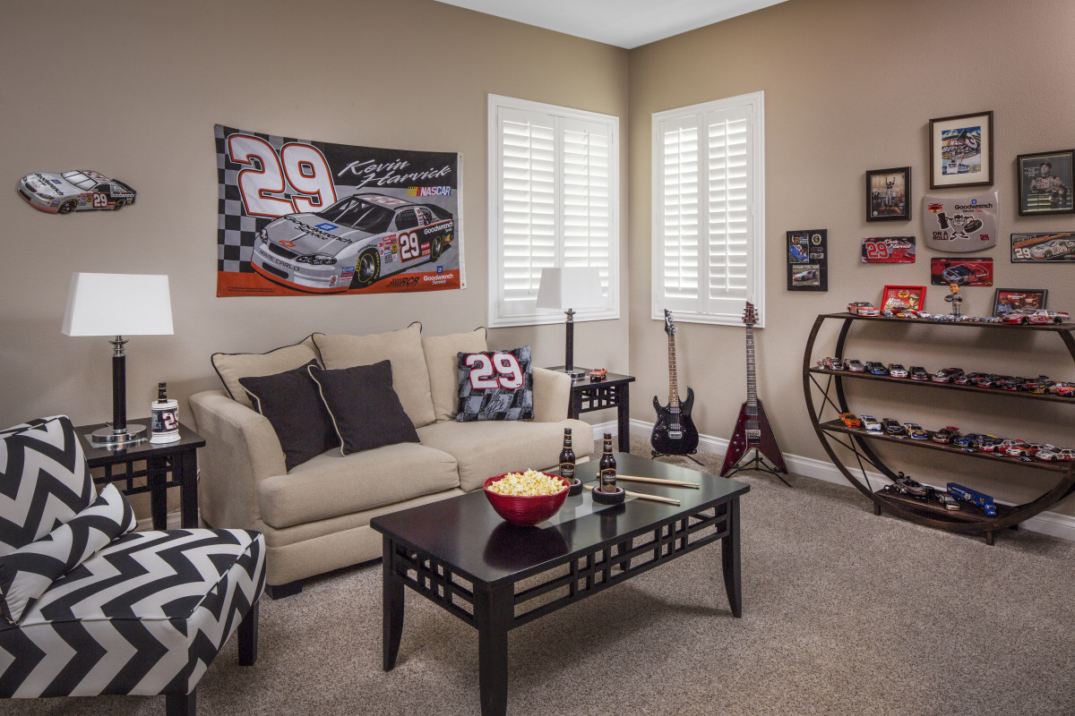 Raleigh man cave with shutters