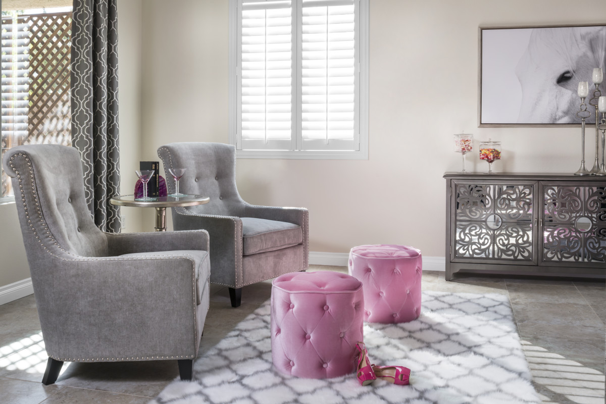 Raleigh pink living room with shutters