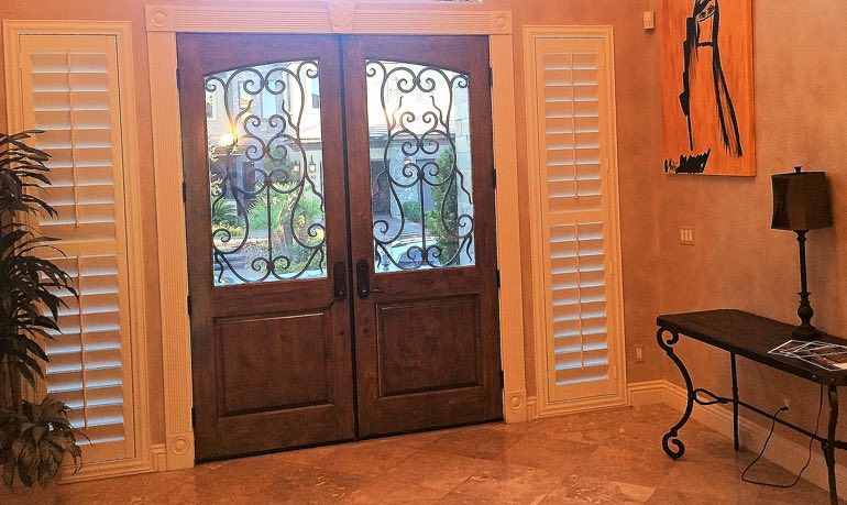 Raleigh foyer door with shutters