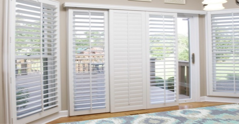 [Polywood|Plantation|Interior ]211] shutters on a sliding glass door in Raleigh