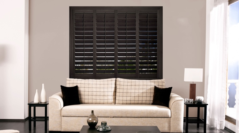 Raleigh sunroom with black shutters.