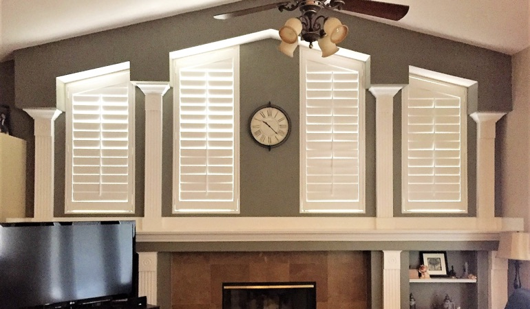 Polywood Shutters in Family Room in Raleigh