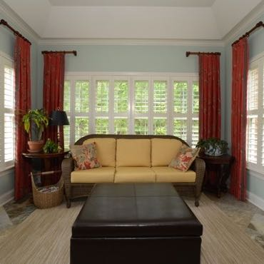 Raleigh sunroom plantation shutters.