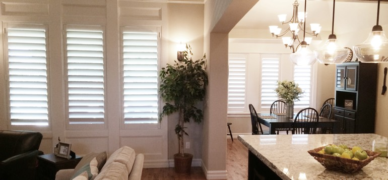 Raleigh shutters in kitchen and family room