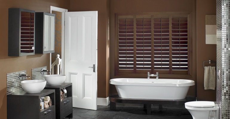Raleigh bathroom shutters wood stain