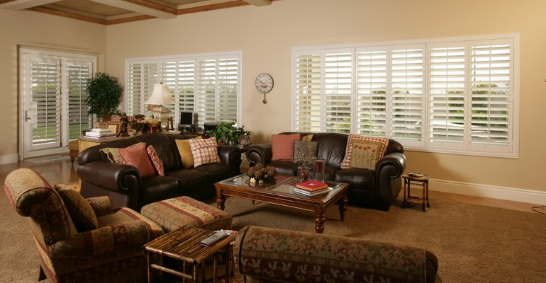 Raleigh family room with interior shutters.