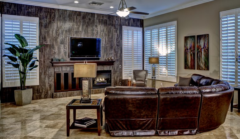 Plantation Shutters In A Raleigh Living Room.