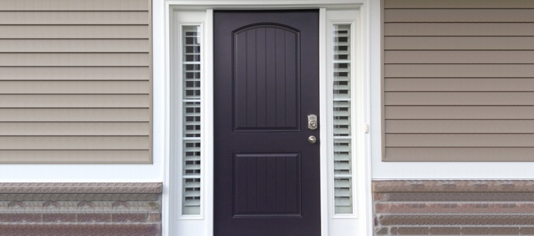 Sidelight Shutters On Black Door In Raleigh, NC