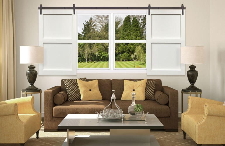 Newest Trends In Window Treatments In Raleigh: Sliding Barn Door Shutters